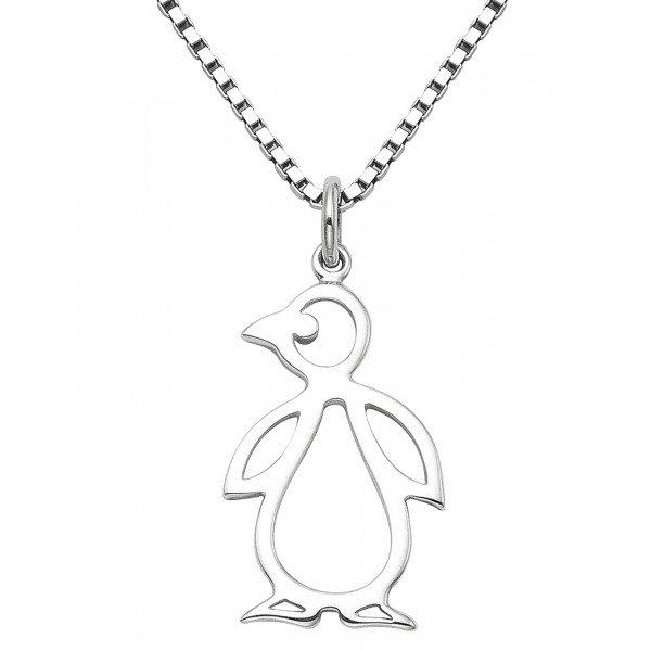 Penguin Cut Out Pendant With Small Ox Box 18 Chain