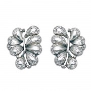 Leaf with White CZ Stud Earrings
