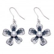 Flower with White CZ and Pearl  Wire Earrings